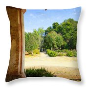La Purisima Mission Garden From The Arcade Throw Pillow