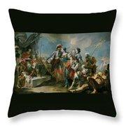La Reina Zenobia Ante El Emperador Aureliano   Throw Pillow