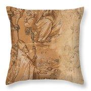 La Virgen En Gloria Apareciendose A Varios Santos  Throw Pillow