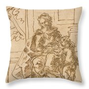 La Virgen Ensena A Leer Al Nino  Throw Pillow