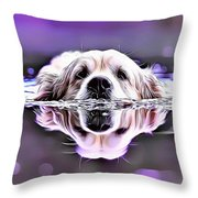 Labrador Swimming Throw Pillow