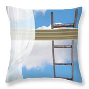 Ladder Against Window Pane Throw Pillow