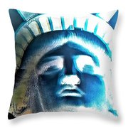 Lady Liberty In Negative Throw Pillow