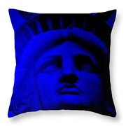 Lady Libery In Blue Throw Pillow