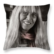 Lady With A Scarf Throw Pillow by Ron Cline