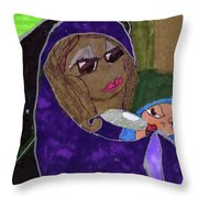 Lady With Child Throw Pillow