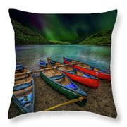 lake Geirionydd Canoes Throw Pillow by Adrian Evans