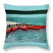 Lake Louise Canoes Throw Pillow