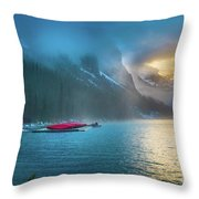 Lake Louise Canoes In The Morning Throw Pillow