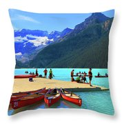 Lake Louise In Alberta Canada Throw Pillow by Ola Allen