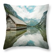 Lake Obersee Boat House Throw Pillow