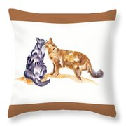 L'amour - Cats In Love Throw Pillow