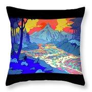 Landscape River Throw Pillow