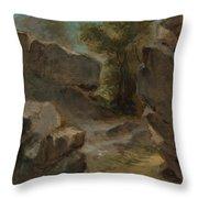 Landscape With Rocks  Augerville  Throw Pillow