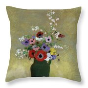 Large Green Vase With Mixed Flowers, 1912 Throw Pillow