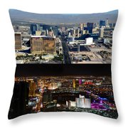Las Vegas Night And Day Work A Throw Pillow