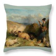Lassie Herding Sheep Throw Pillow