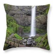 Latourell Falls Throw Pillow by Nicole Young