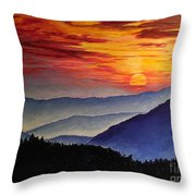 Laurens Sunset And Mountains Throw Pillow