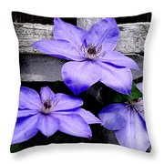 Lavender Clematis On Vine Throw Pillow