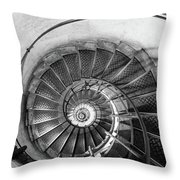 Lblack And White View Of Spiral Stairs Inside The Arch De Triump Throw Pillow