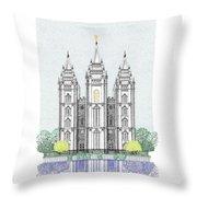 Lds Salt Lake Temple - Colorized Throw Pillow