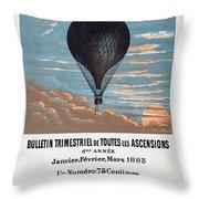 Le Ballon Aeronautical Journal, 1883 French Poster Throw Pillow