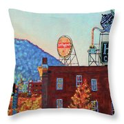 Leading Green - Antique Signs Of Roanoke Virginia Throw Pillow