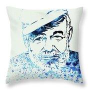 Legendary Hemingway Watercolor Throw Pillow