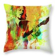 Legendary Kirk Hammett Watercolor Throw Pillow