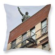 Lenin Statue In East Village N Y C Throw Pillow