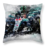 Lewis Hamilton, Mercedes Amg F1 W09 - 10 Throw Pillow