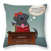 Library Newfie Throw Pillow