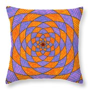 Light Violet On Blue, Yellow On Red Fractal Pattern Throw Pillow