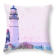 Lighthouse, Cape Elizabeth, United States -  Watercolor By Ahmet Asar Throw Pillow