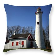 Lighthouse - Sturgeon Point Michigan Throw Pillow