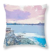 Lighthouse, Sydney, Australia -  Watercolor By Ahmet Asar Throw Pillow
