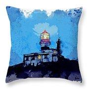 Lighthouse, Watercolor, C2019, By Adam Asar - 19 Throw Pillow