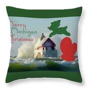 Lightouse Christmas Throw Pillow