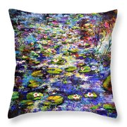 Lily  Pond Impressions Oil Painting Throw Pillow by Ginette Callaway