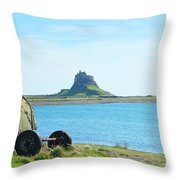 Lindisfarne Castle And Bay Throw Pillow