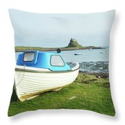 Lindisfarne Castle, Bay And Boat Throw Pillow