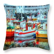 Line Up Of Fishing Boats Throw Pillow by Debra and Dave Vanderlaan