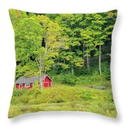 Little Red House Throw Pillow