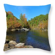 Little River From Little River Gorge Road At Townsend Entrance Throw Pillow