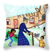Lived In A Shoe 1 Throw Pillow