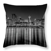 Liverpool Skyline In The Night Black And White Throw Pillow