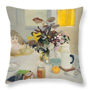 Lizzie At The Table  Throw Pillow