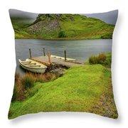 Llyn Y Dywarchen Boats Snowdonia Throw Pillow