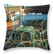 lobster pots and trawlers at Dunbar harbour Throw Pillow